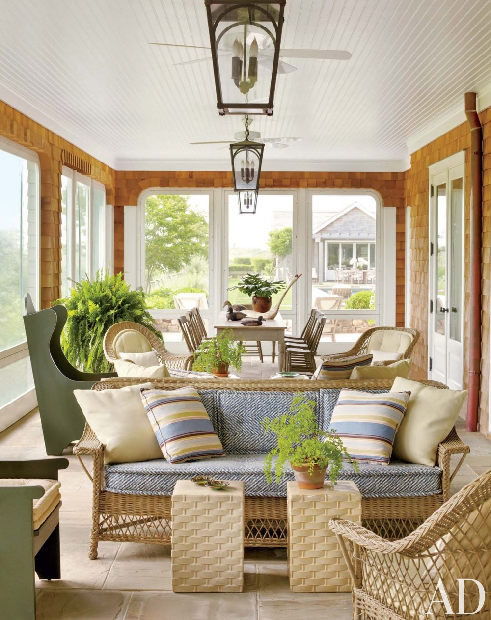 Contemporary Porch by Carrier and Company Interiors and John David Rose in Southampton, New York