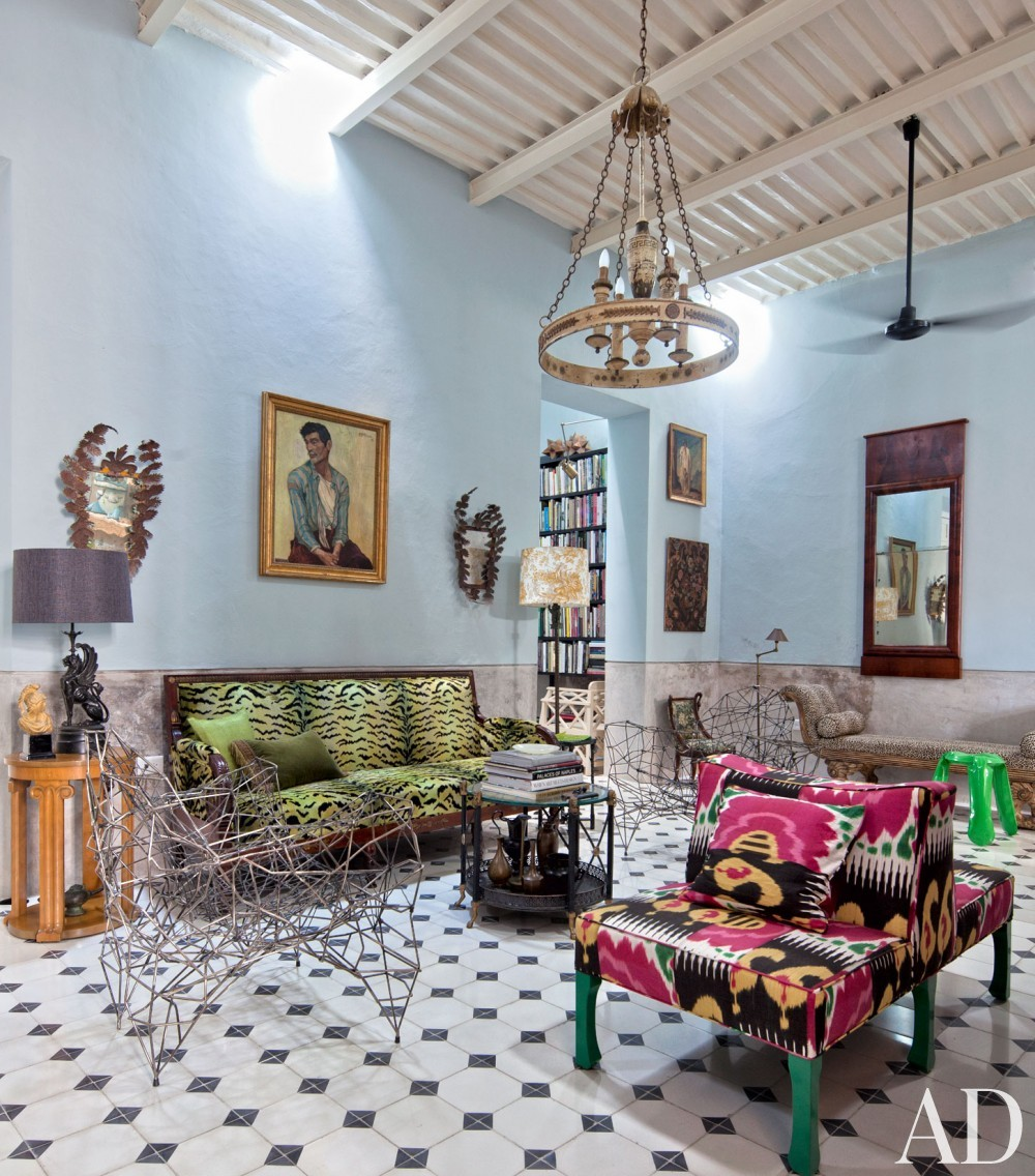 Exotic Living Room by Robert Willson and David Serrano and Bohl Architects in Merida, Mexico