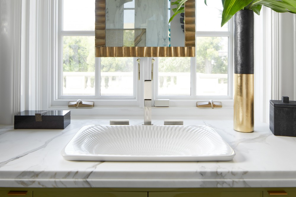 Derring on Carillon Rectangle Wading Pool Sink    Loure Widespread Faucet    Patterned ornamentation and clean minimalism combine to create a luxurious environment without becoming too busy.