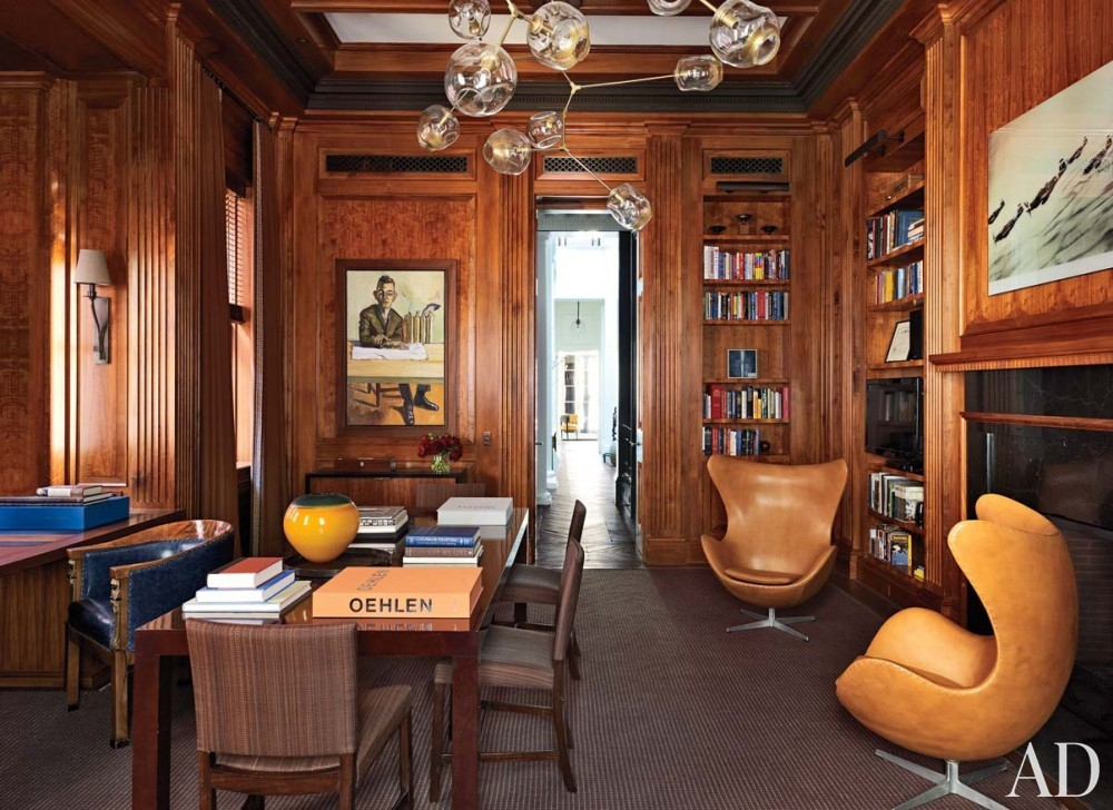 Modern Office/Library by Wells & Fox and Dell Mitchell in Boston, MA