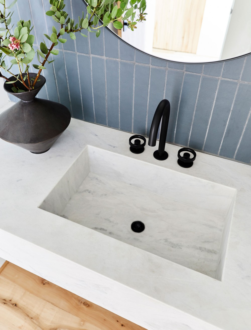 Components™ bathroom sink spout    Components handles    A faucet collection with multiple handle and spout options allowed Emily to design the perfect combination for the style she wanted to capture.