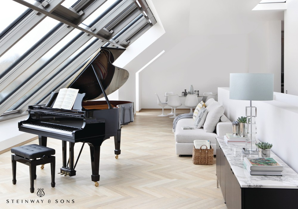 The rich tone, responsive action, and manageable size of the Steinway & Sons Model M makes it perfect for many style homes--and even conservatories.