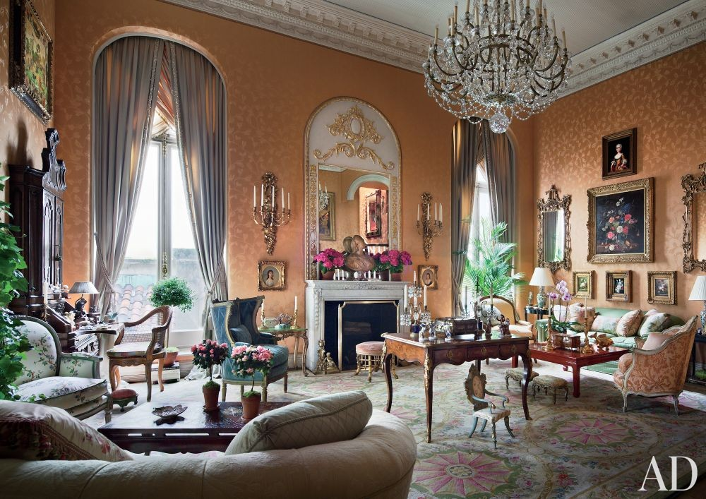 Traditional Living Room by Mario Buatta in New York, New York