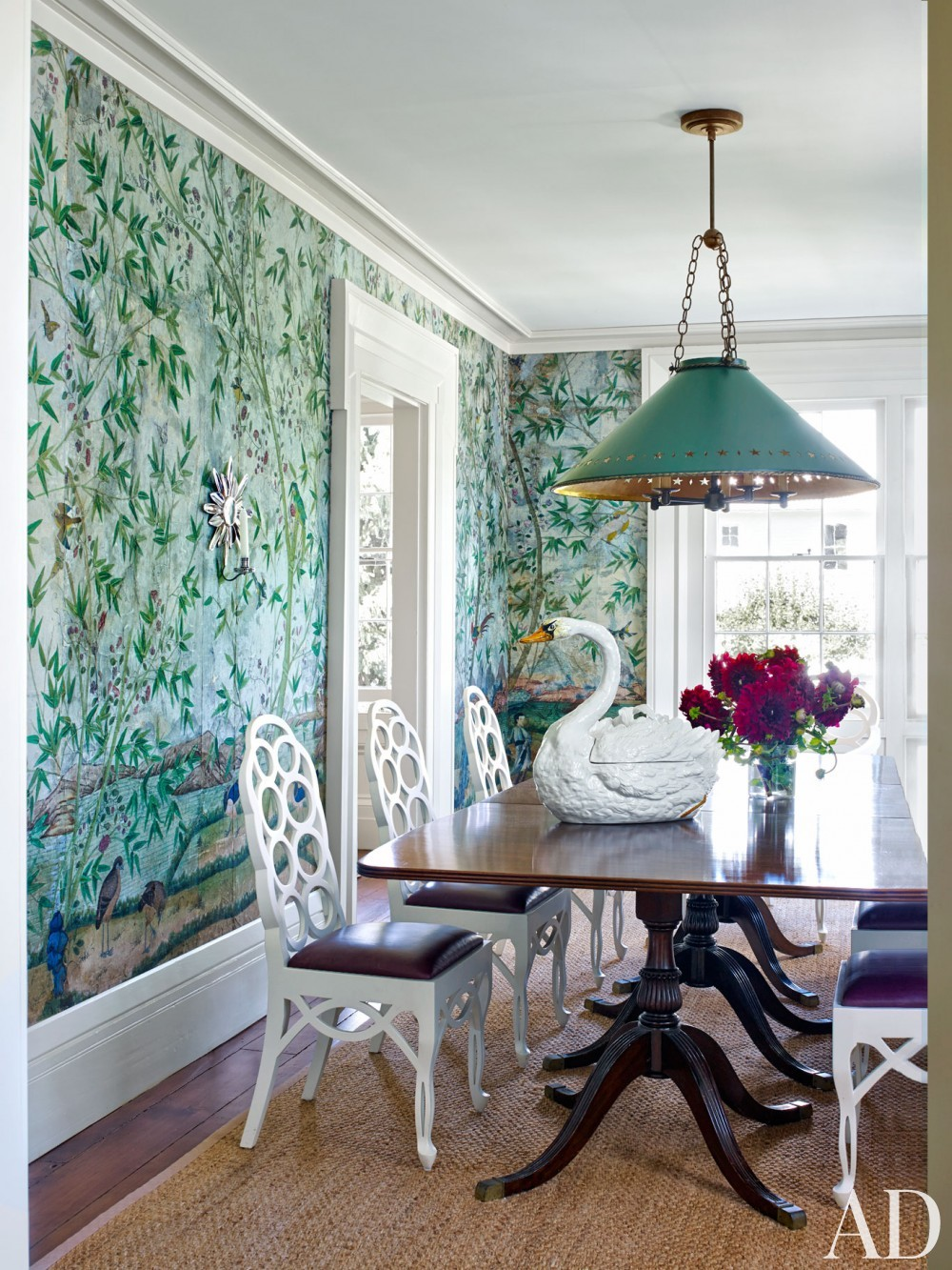 Traditional dining room by harry heissmann by for Dining room mural wallpaper