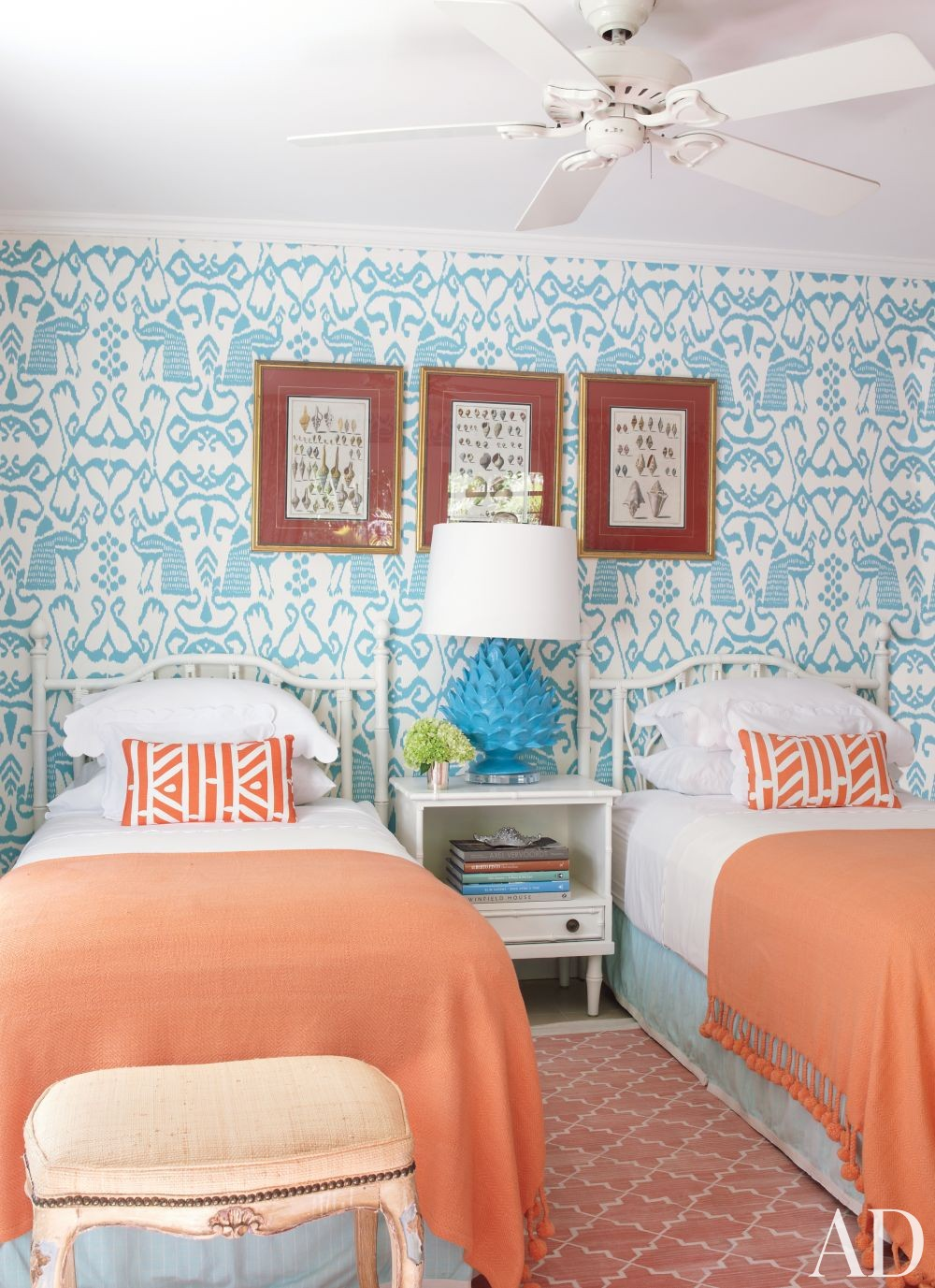 Beach Bedroom by Andrew Raquet Interior Design in Lyford Cay, Bahamas