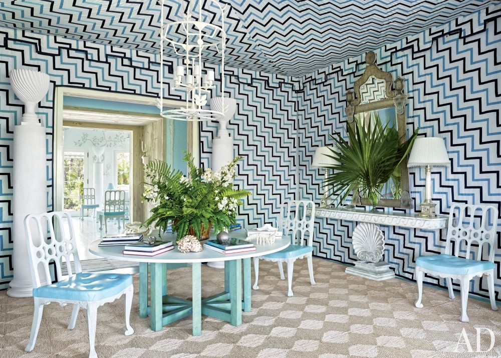 Beach Dining Room by Miles Redd in Lyford Cay, Bahamas