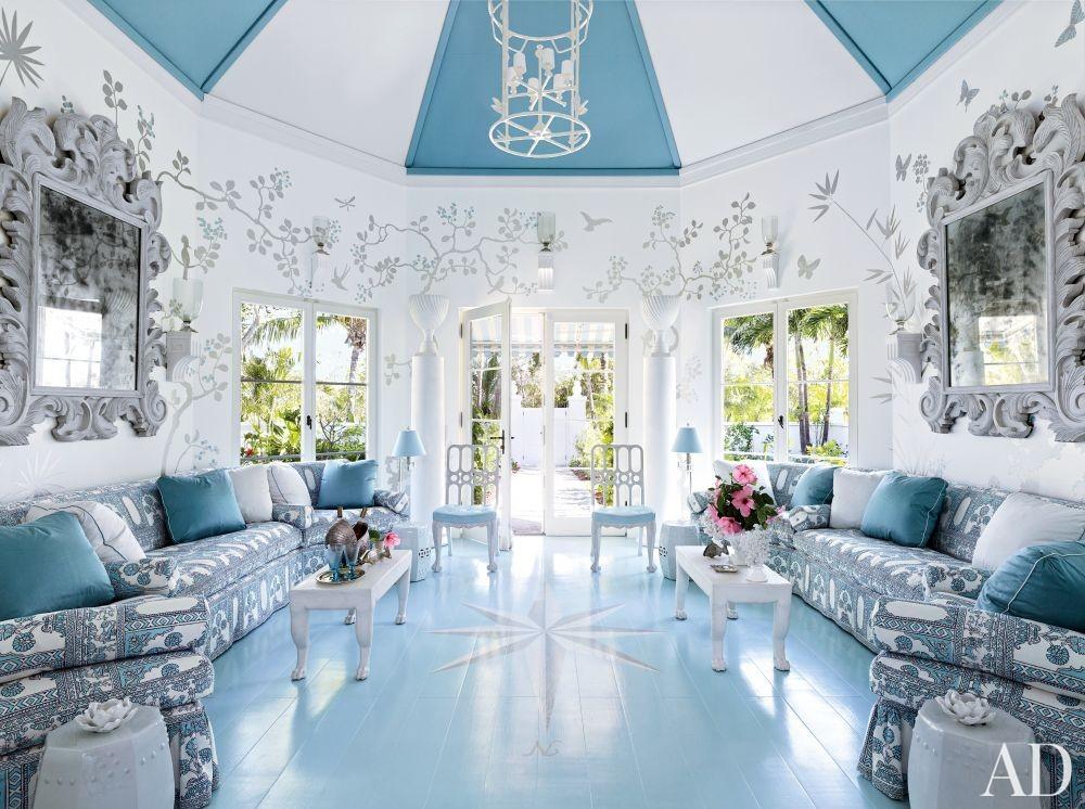 Beach Entrance Hall by Miles Redd in Lyford Cay, Bahamas