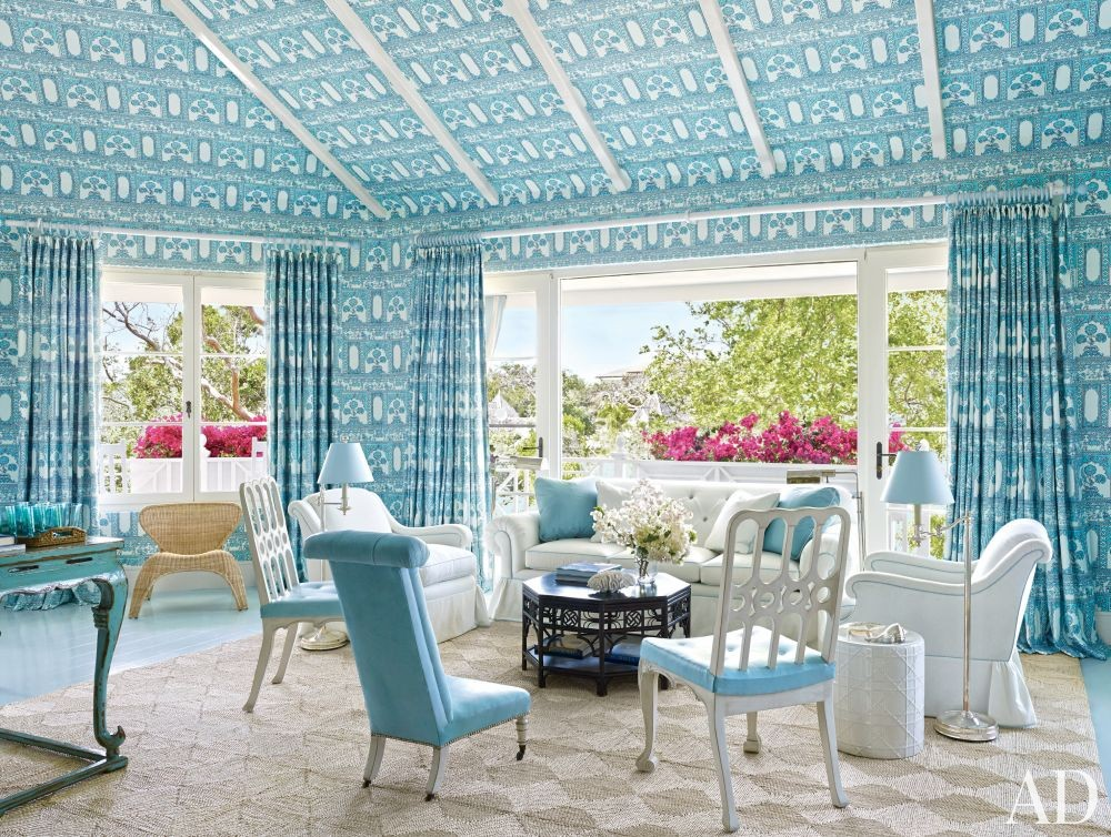 Beach Living Room by Miles Redd in Lyford Cay, Bahamas