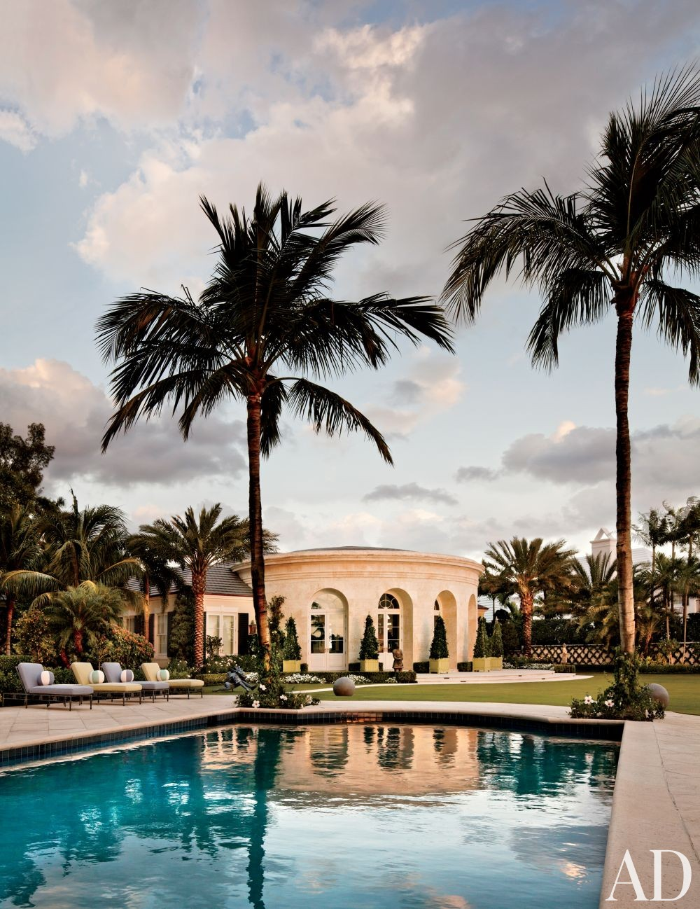 Beach Pool by Mario Buatta and Thomas M. Kirchhoff in Palm Beach, Florida