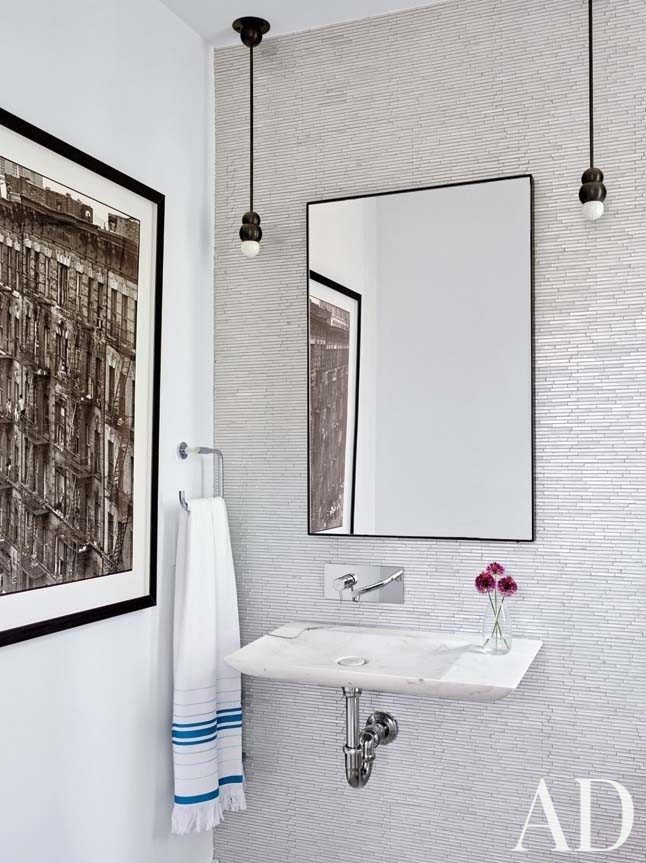 Beach Bathroom by Leroy Street Studio in Woods Hole, Massachusetts