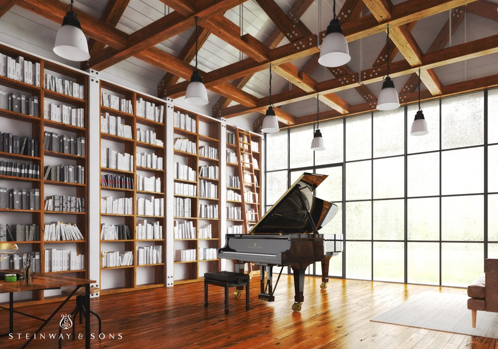This Steinway & Sons piano makes a grand statement in almost any space but is particularly at home in a distinguished library setting.