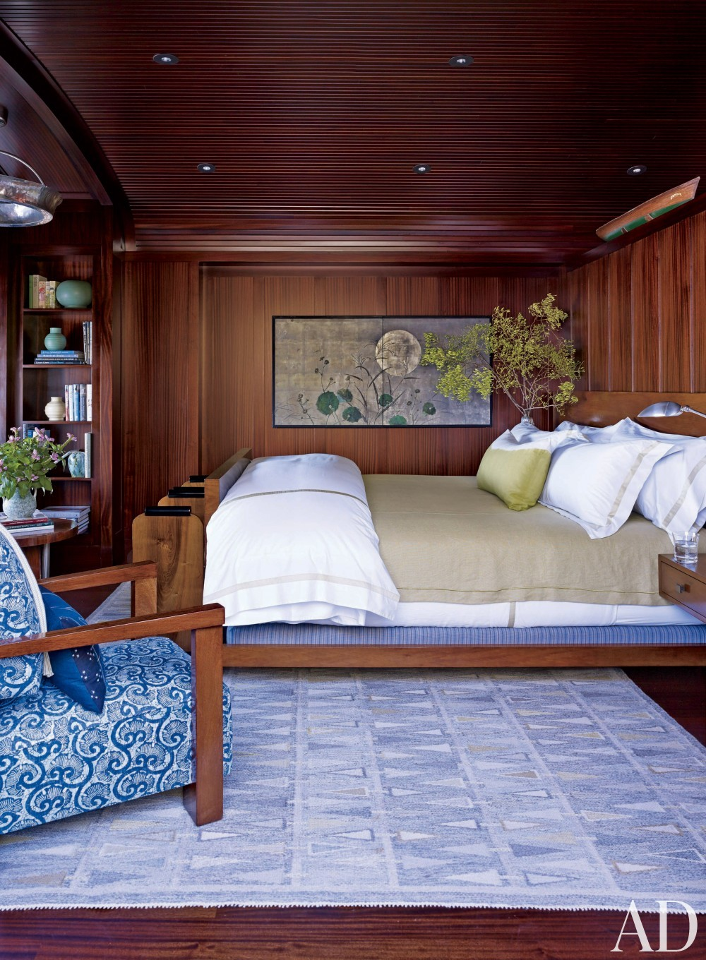 Contemporary Bedroom by Michael S. Smith Inc. and HBRA Architects in Geneva Lake, Wisconsin