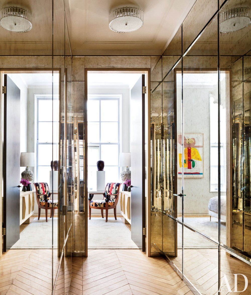 Contemporary Entrance Hall by Lucien Rees Roberts and Steven Harris in New York, New York