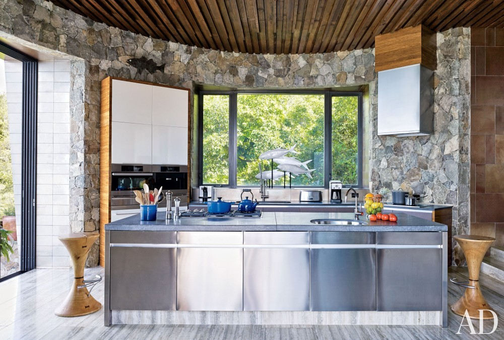 Contemporary Kitchen by Tony Ingrao and Randy Kemper in St. John, U.S. Virgin Islands