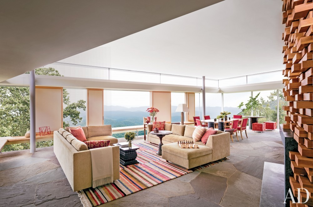 Contemporary Living Room and Gluck+ in Blue Ridge Mountains, NC