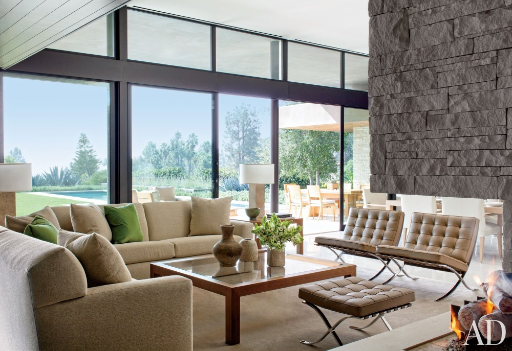 Contemporary Living Room by Boehm Design Associates and Marmol Radziner in Beverly Hills, California