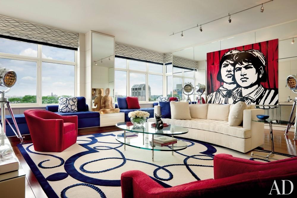 Contemporary Living Room by Geoffrey Bradfield in New York City