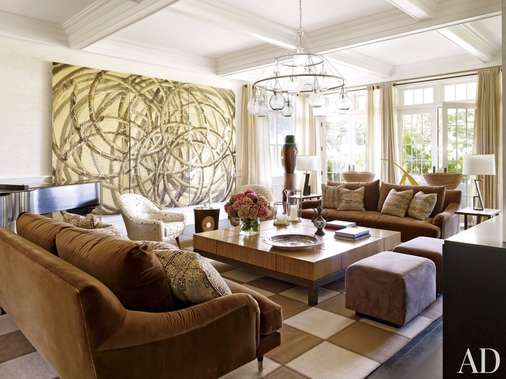 Contemporary Living Room by Juan Montoya Design in Southampton, NY