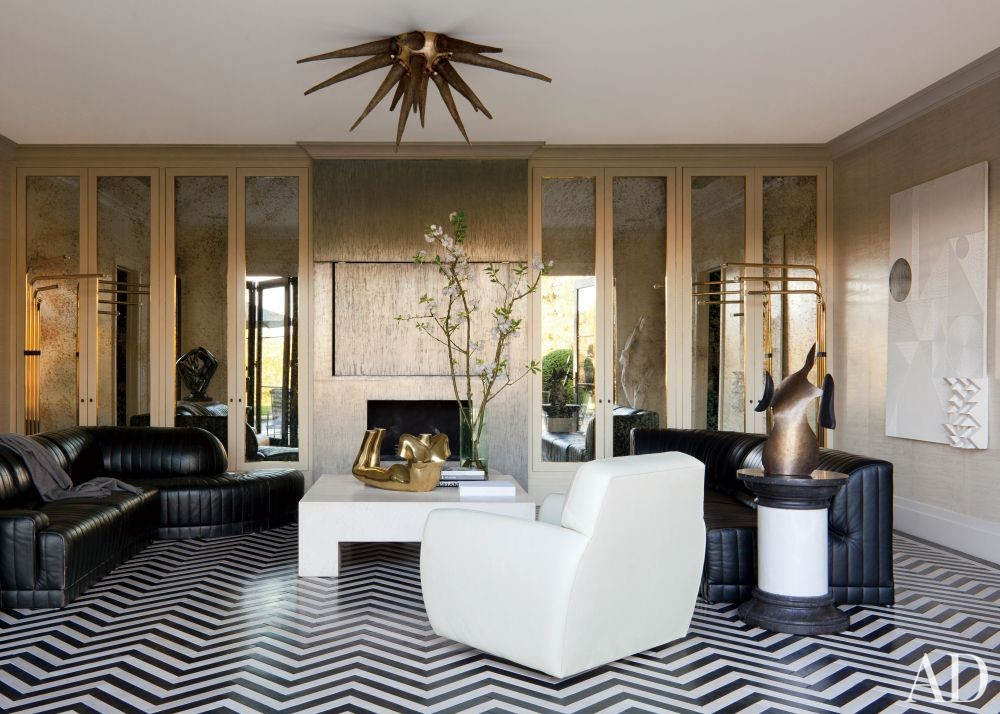 Contemporary Living Room by Kelly Wearstler and Tichenor & Thorp Architects Inc. in Bel Air, California