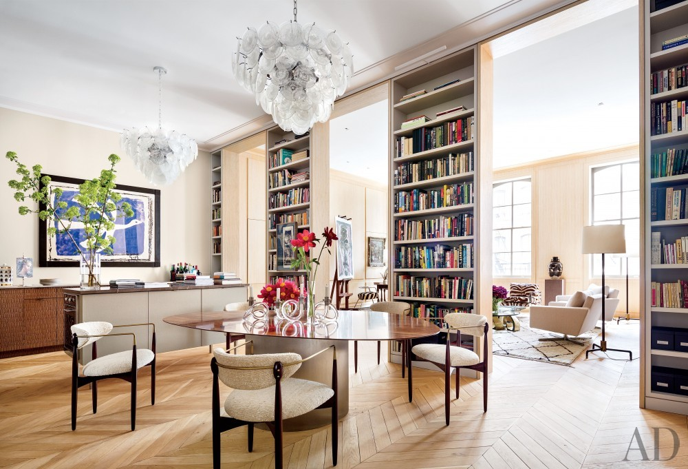 Contemporary Living Room by Lucien Rees Roberts and Steven Harris in New York, New York