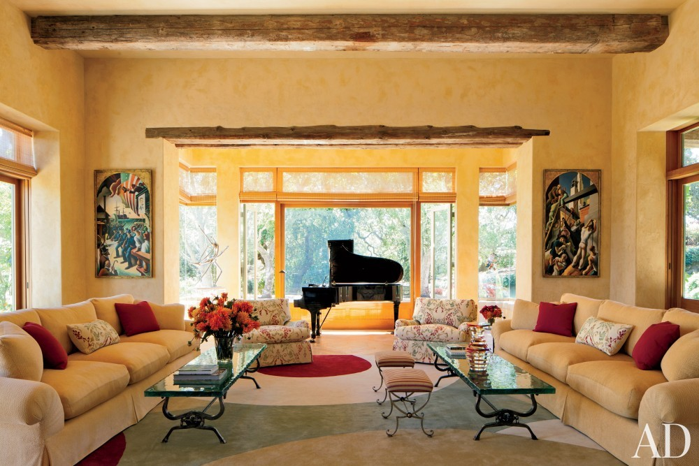Contemporary Living Room by Mica Ertegun and Walker & Moody Architects in Sonoma Valley, CA