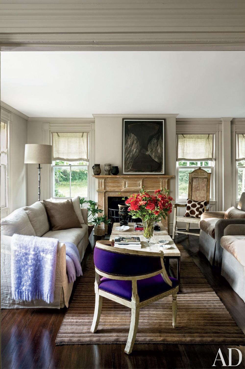 Contemporary Living Room by Rebecca Bond in Bridgehampton, New York