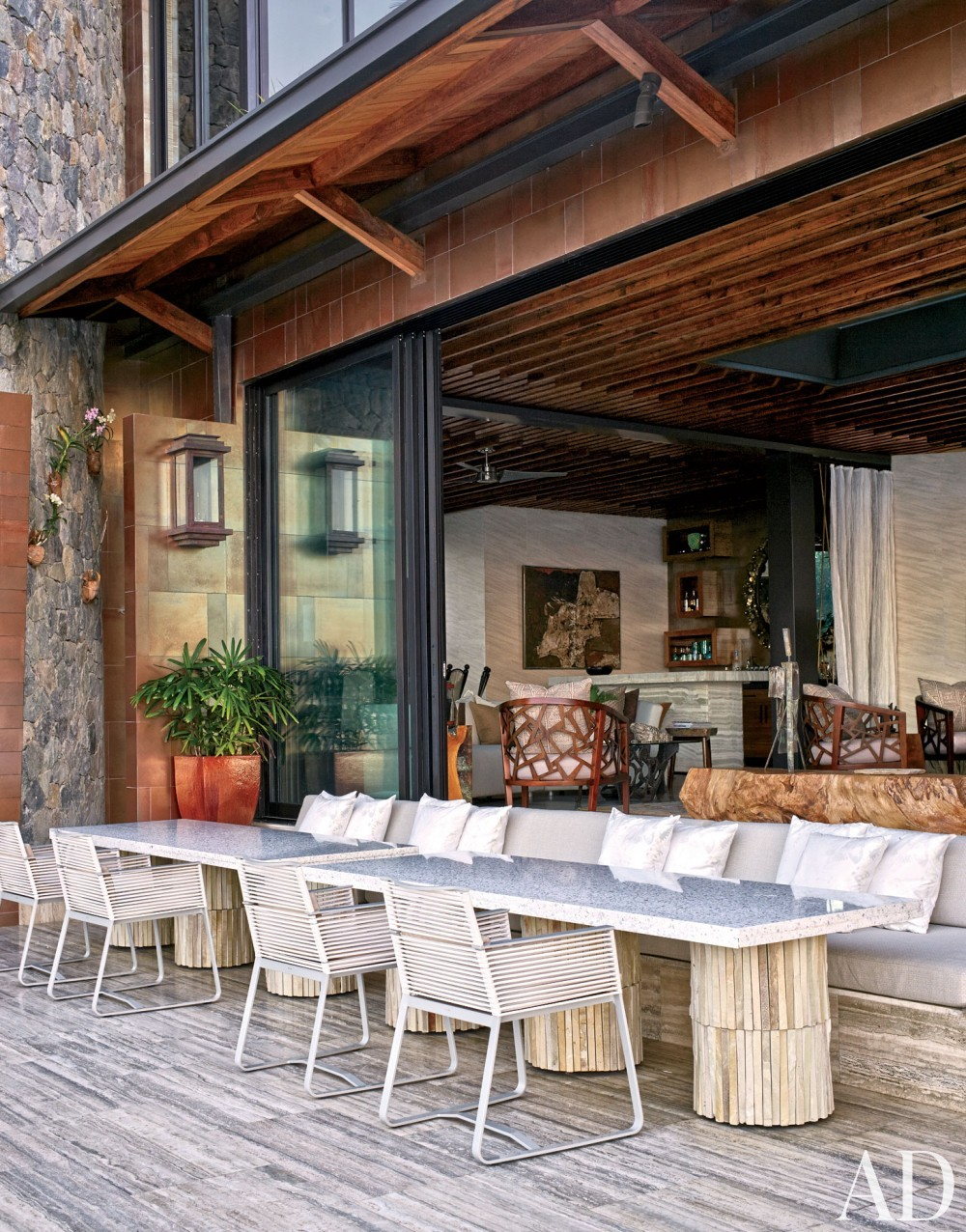 Contemporary Outdoor Space by Tony Ingrao and Randy Kemper in St. John, U.S. Virgin Islands