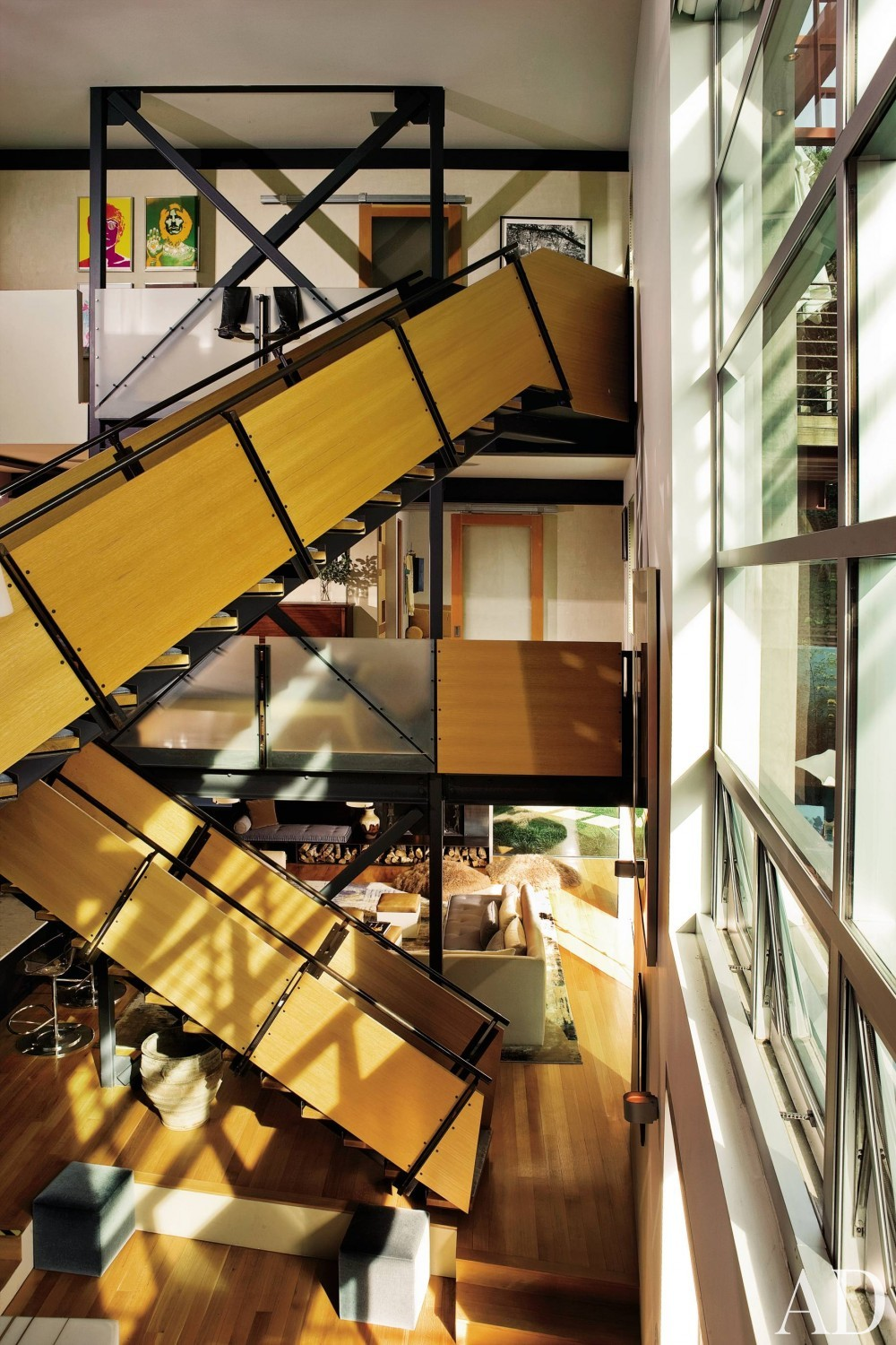 Contemporary Staircase/Hallway by Schuyler Samperton and GRAYmatter Architecture in Los Angeles