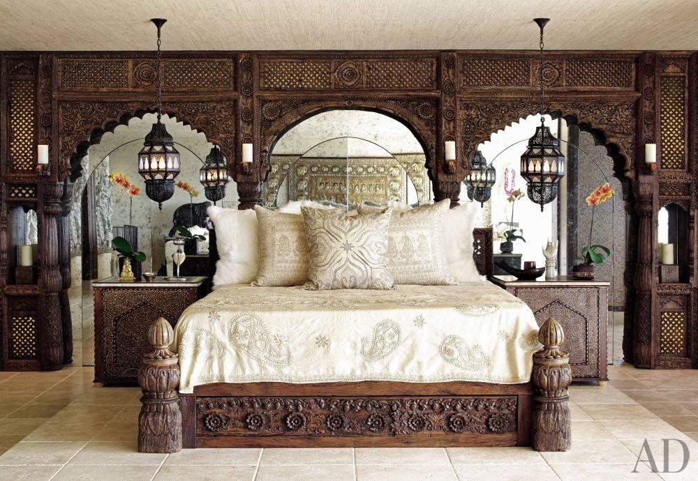 Exotic Bedroom by Martyn Lawrence Bullard Design in Los Angeles, California
