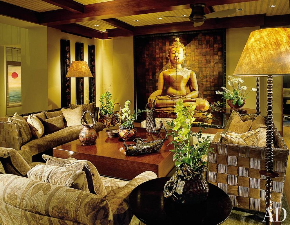 Exotic Living Room by Jacques Saint Dizier and Donald Botsai in Oahu, Hawaii