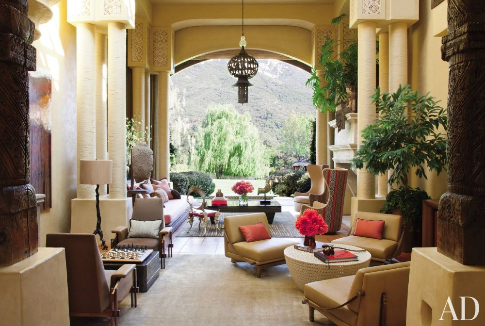Exotic Living Room by Judith Lance and Stephen Samuelson in Calabasas, California