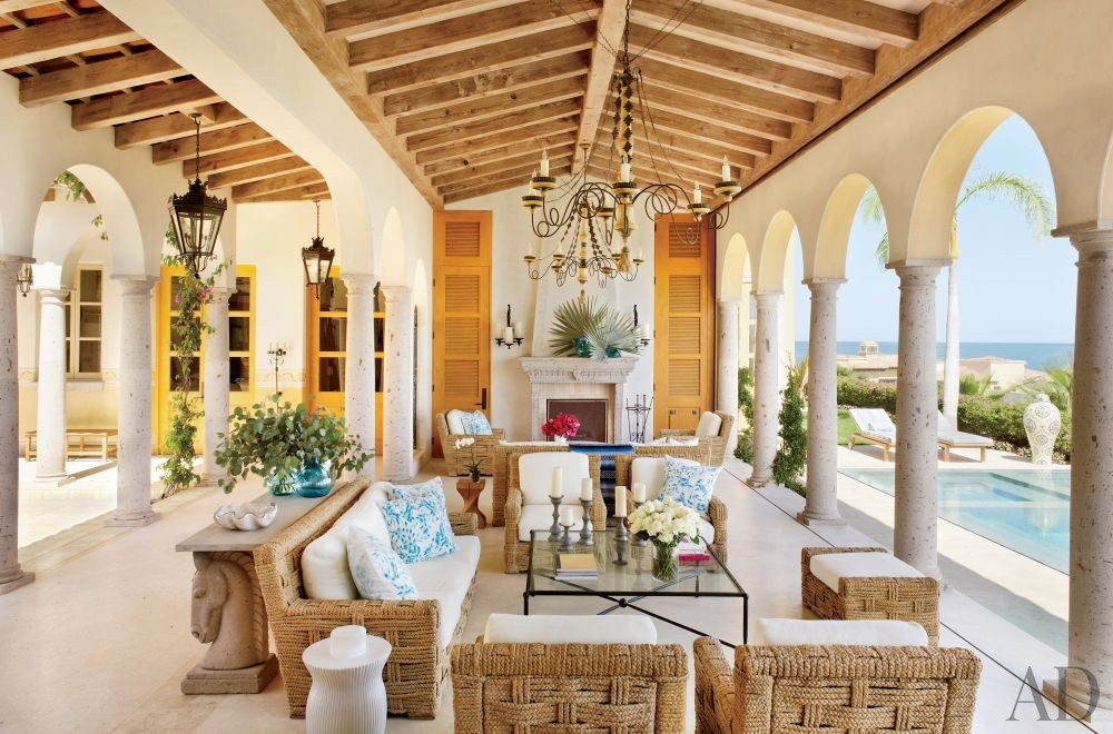 Exotic Living Room by Marshall Watson Interiors and Stephen Morgan Architect in San José del Cabo, Mexico