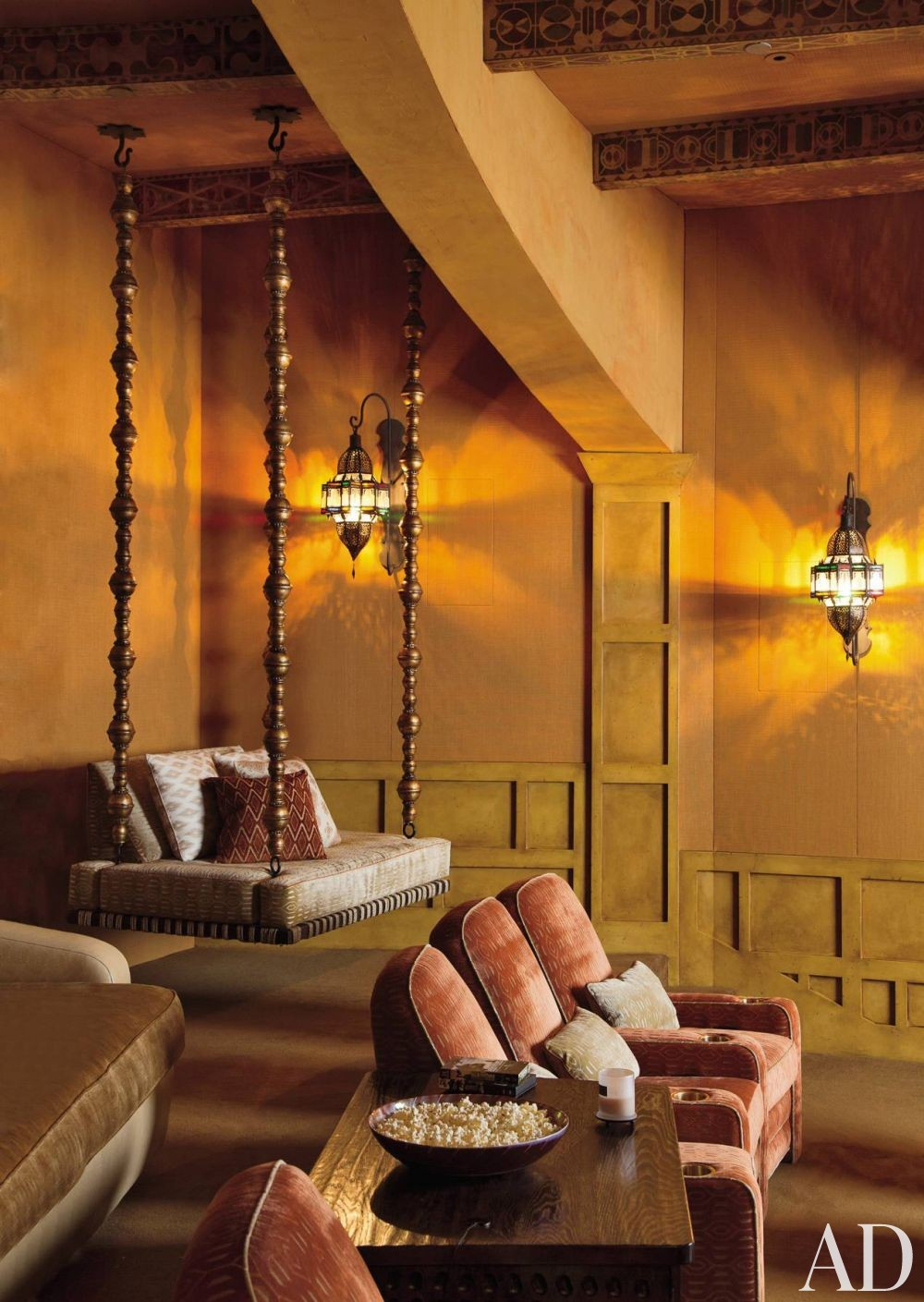 Exotic Media/Game Room by Judith Lance and Stephen Samuelson in Calabasas, California
