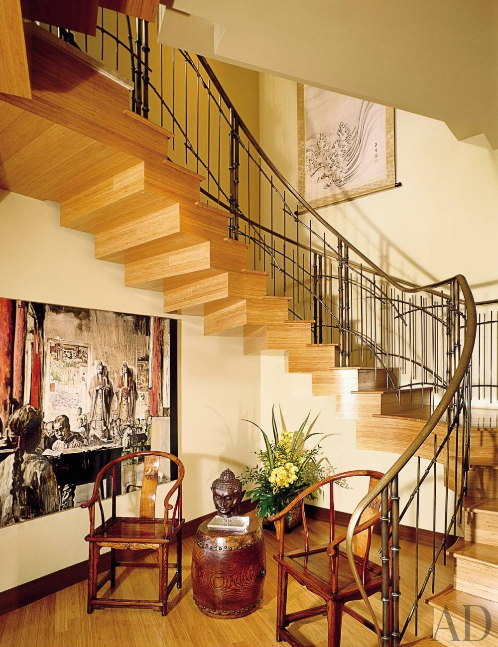 Exotic Staircase/Hallway by Jacques Saint Dizier and Donald Botsai in Oahu, Hawaii