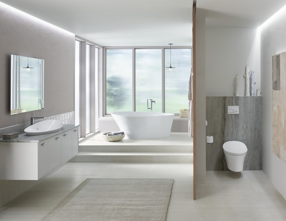 modern fusion bathroom  kohler ideas