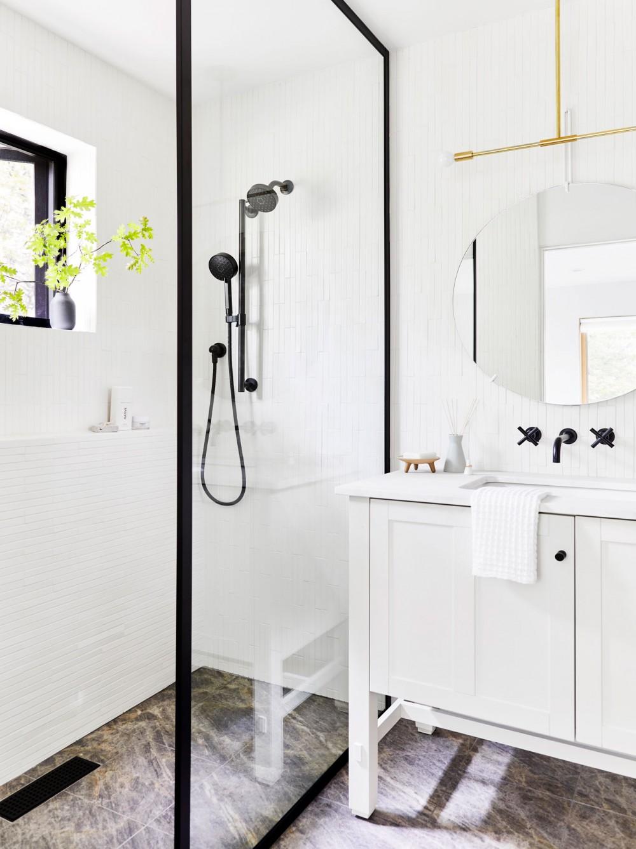 Awaken® showerhead    Awaken handshower    Matte black, seen in the window frame, shower screen, faucets and hardware, adds a sleek, modern touch.