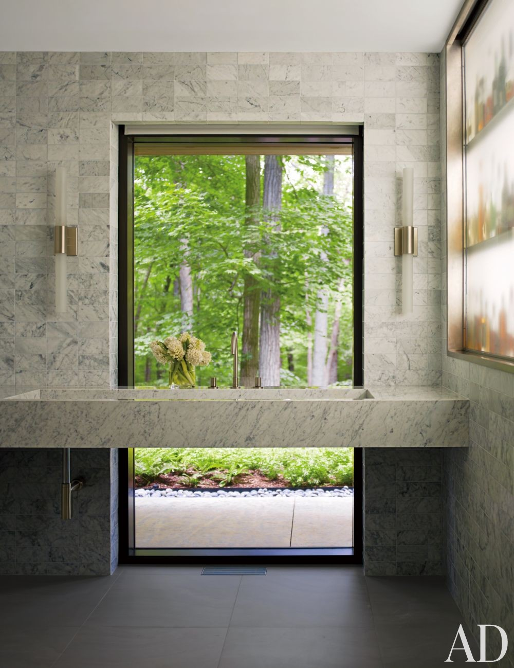 Modern Bathroom by Carrier and Co. Interiors and Specht Harpman Architects in New Canaan, Connecticut