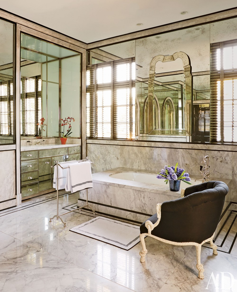 Modern bathroom by miles redd by architectural digest ad for Architectural digest bathroom ideas