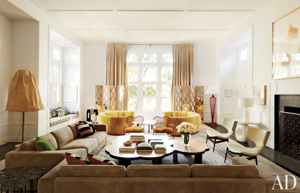 Modern Living Room by India Mahdavi in Litchfield County, CT
