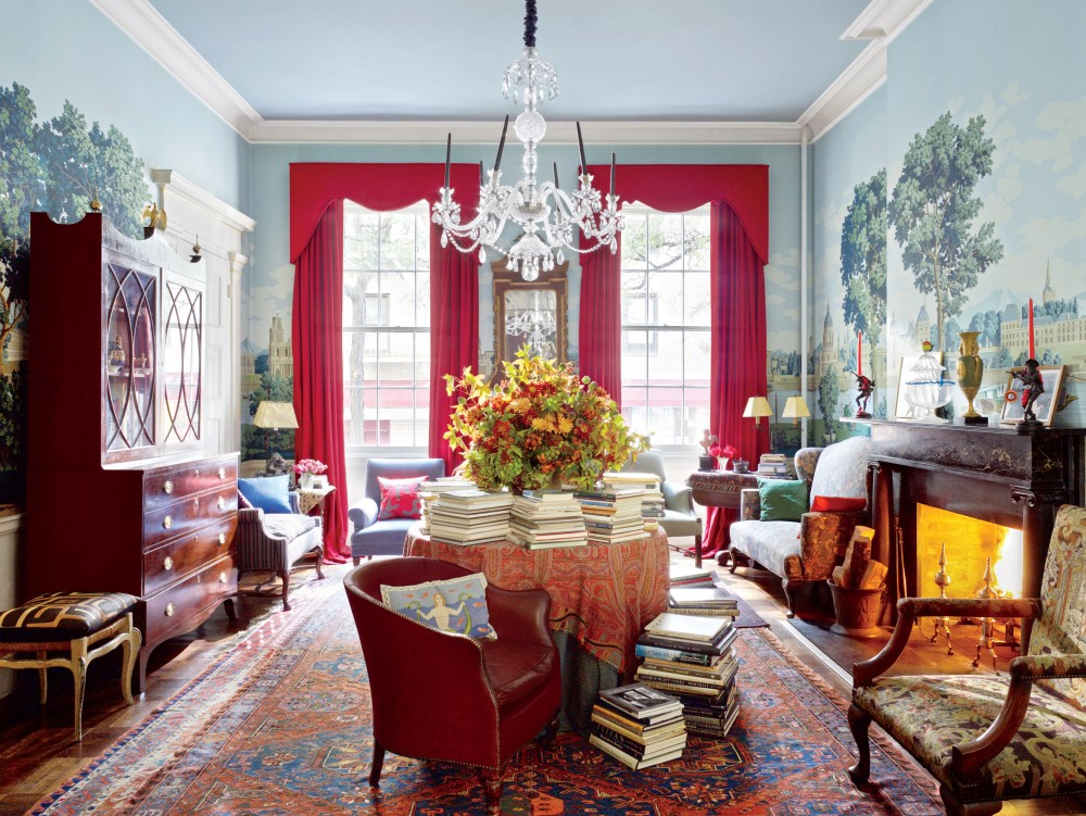 Chambre Bleu Gris Rouge : Modern Living Room by Andrea Anson by Architectural Digest  AD