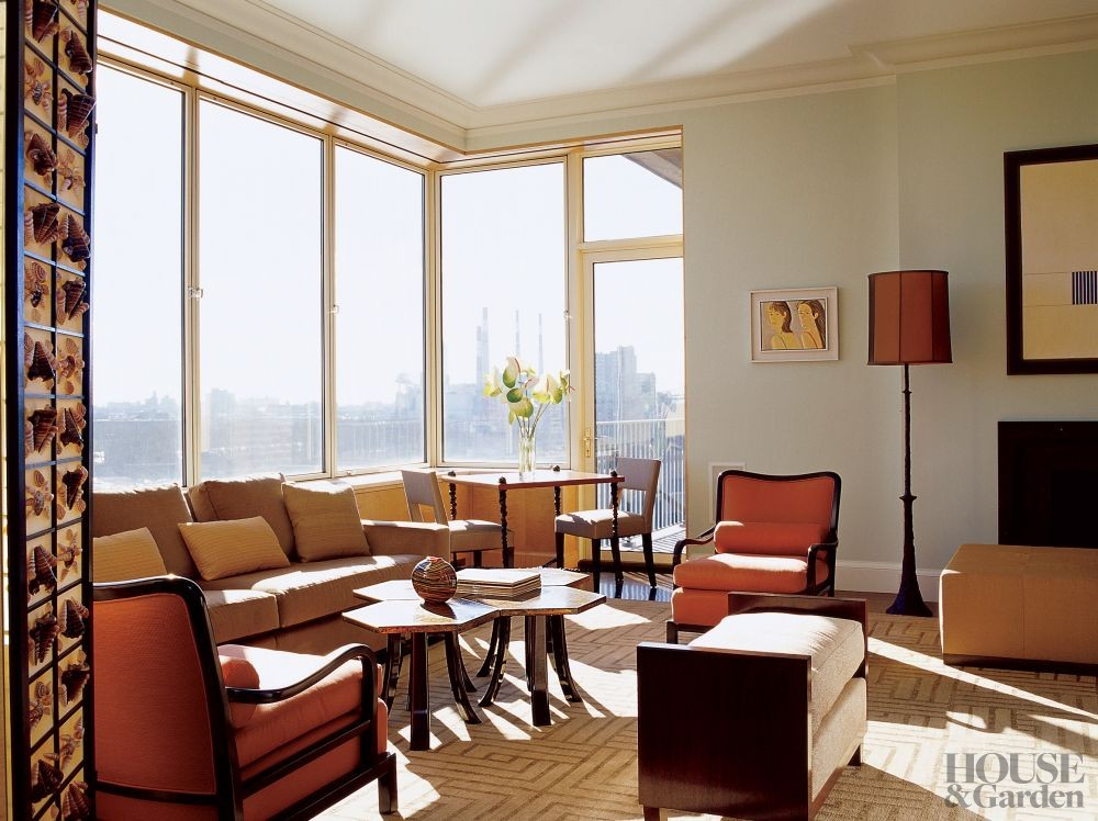 Modern living room by thom filicia by architectural digest for Modern living room nyc