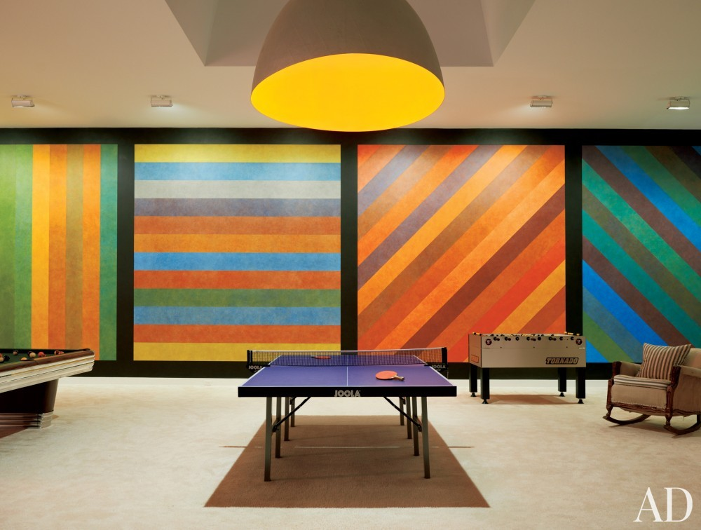 Modern Media/Game Room by India Mahdavi in Litchfield County, CT