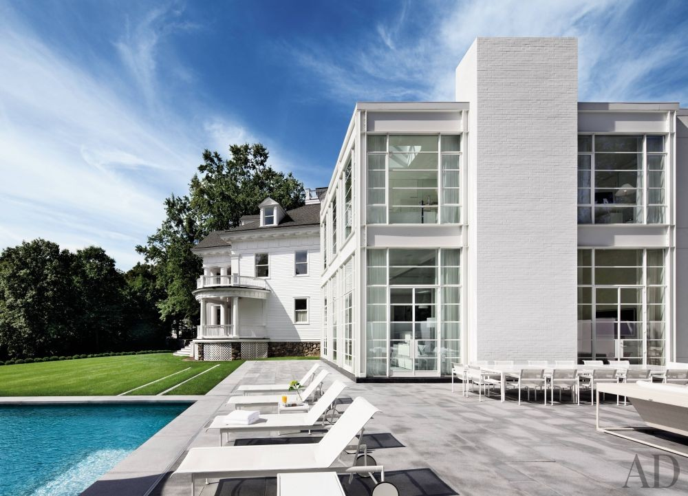 Modern Pool by Victoria Hagan Interiors and Allan Greenberg Architect in Greenwich, Connecticut
