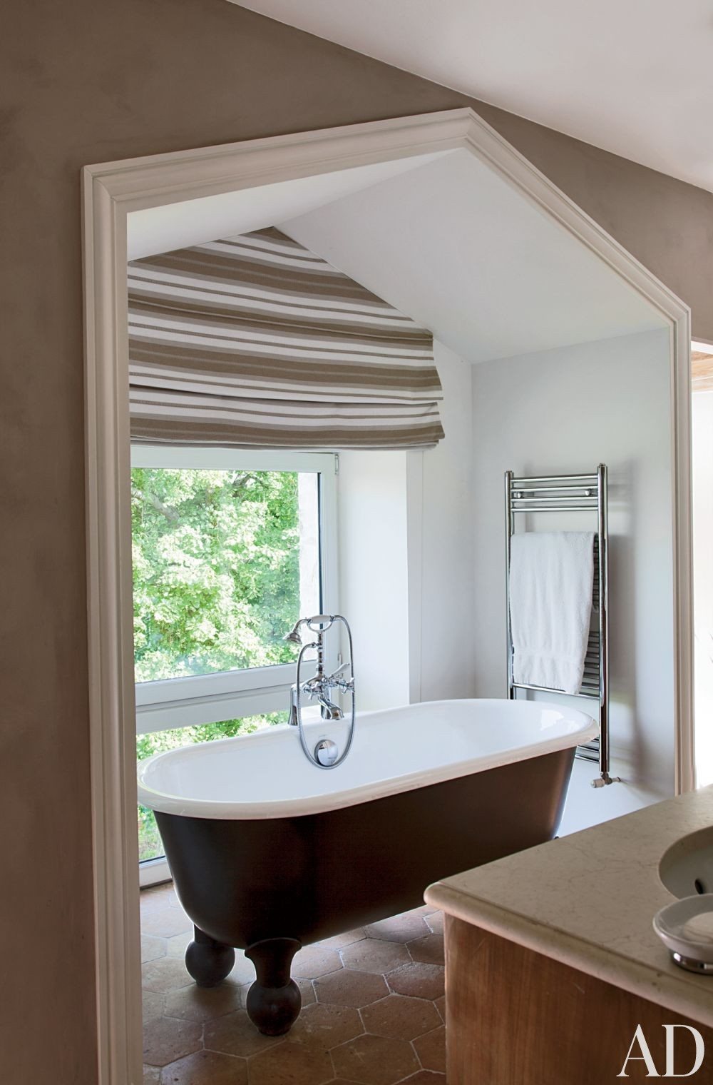 Rustic Bathroom by Jean-Louis Deniot in Loire Valley, France