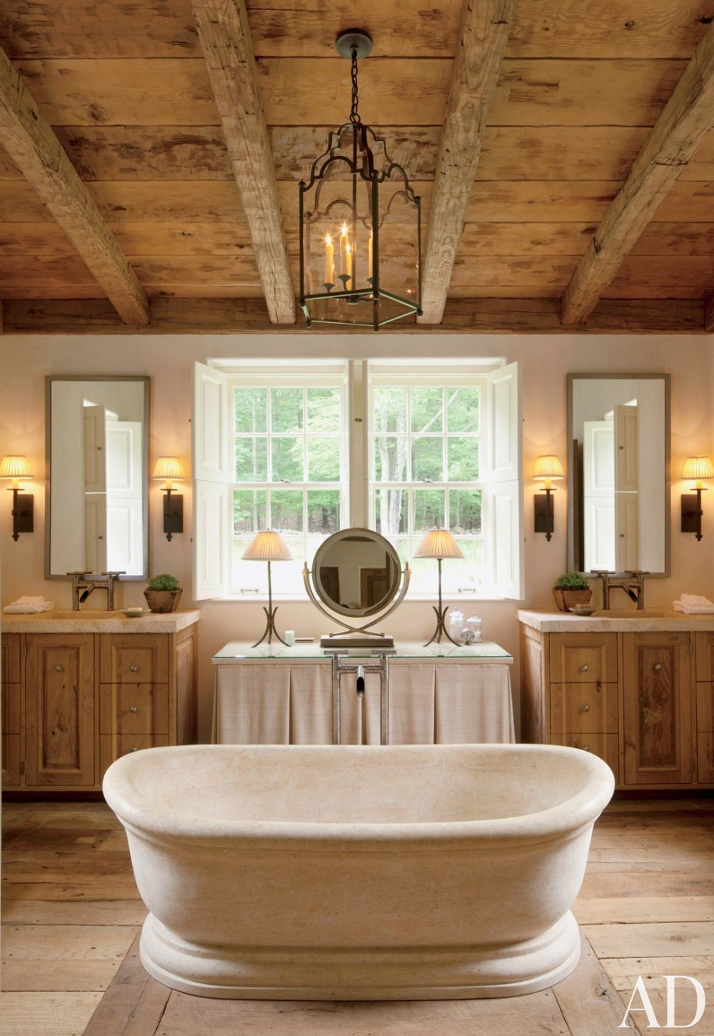 Rustic Bathroom by John Cottrell Co. and G. P. Schafer Architect in Litchfield County, Connecticut