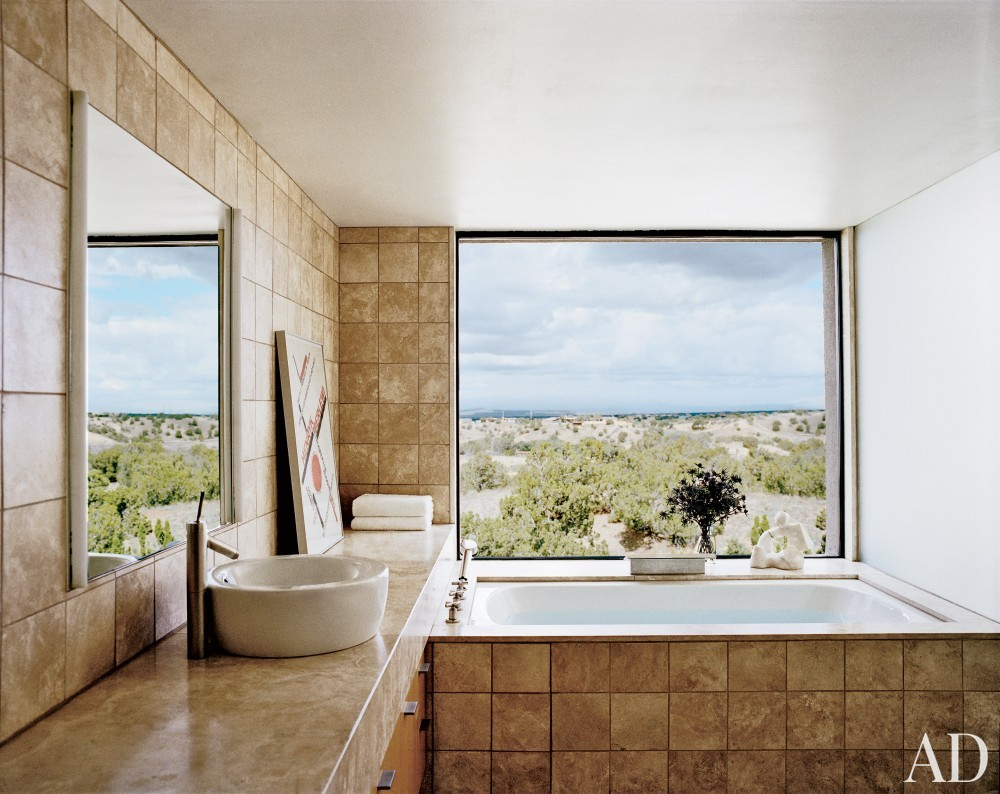 Rustic Bathroom and Ralph Ridgeway in Santa Fe, New Mexico