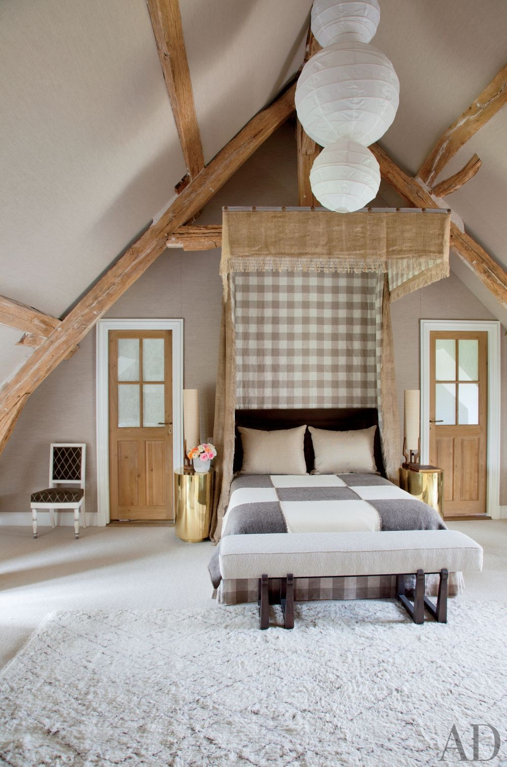 Rustic Bedroom by Jean-Louis Deniot in Loire Valley, France