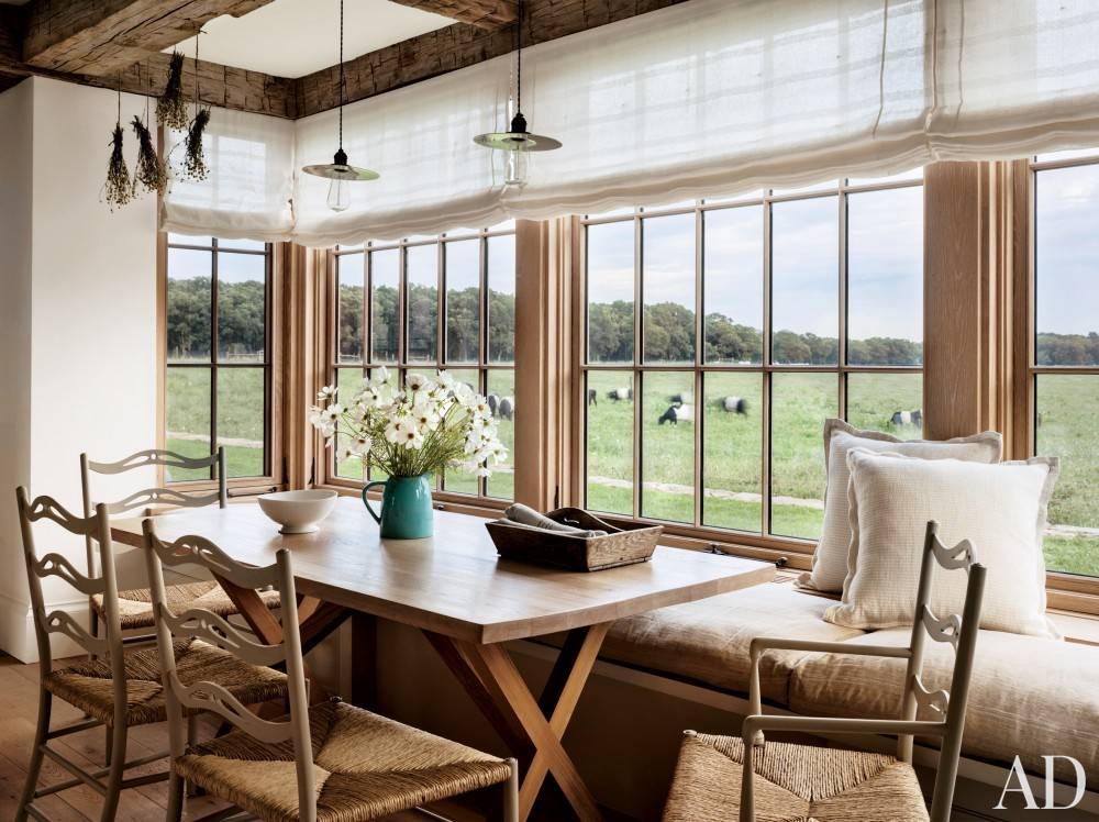 Rustic Breakfast nook by Kathleen Walsh and Mark Hutker in Martha\'s Vineyard, MA