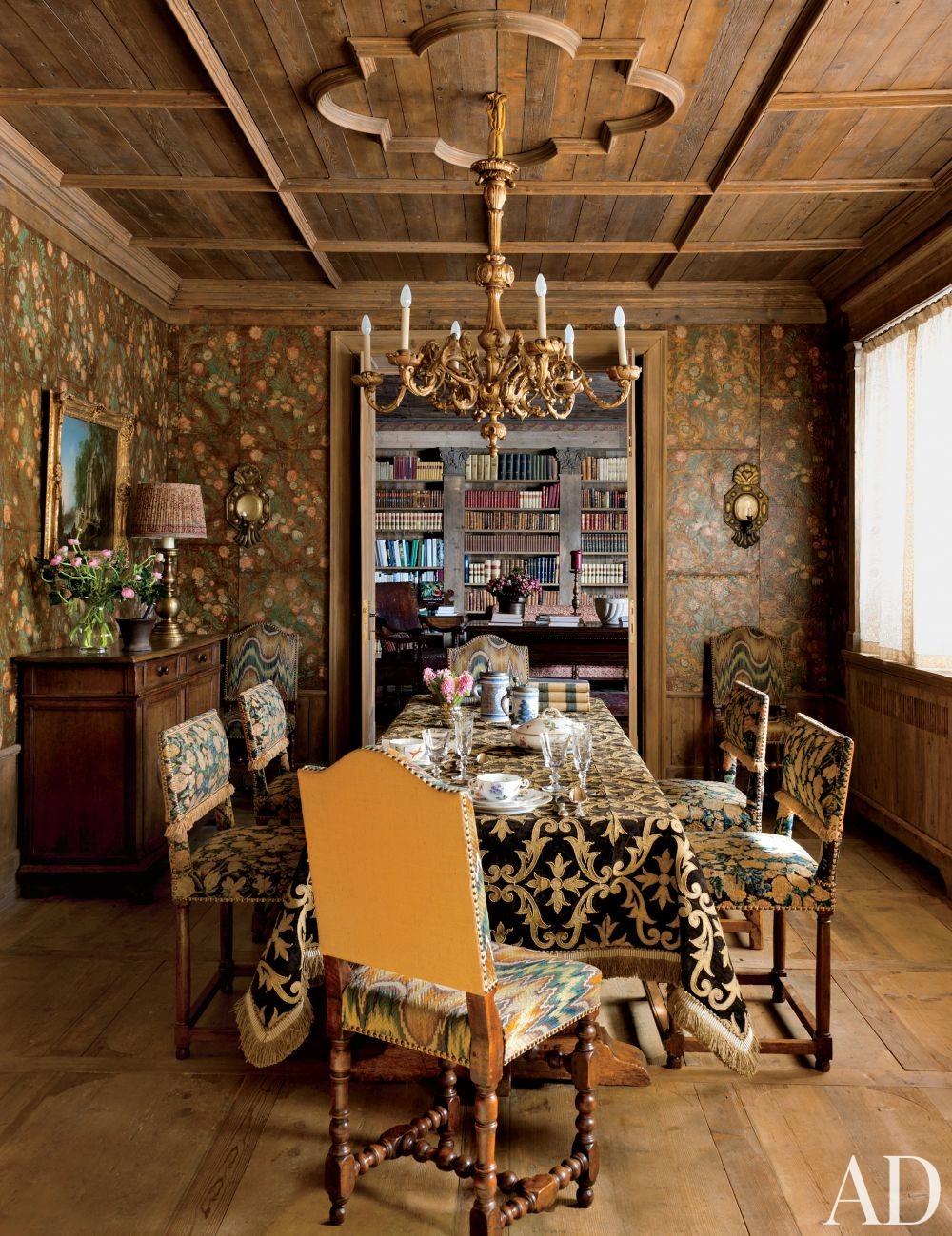 Rustic Dining Room by Studio Peregalli in Saint Moritz, Switzerland