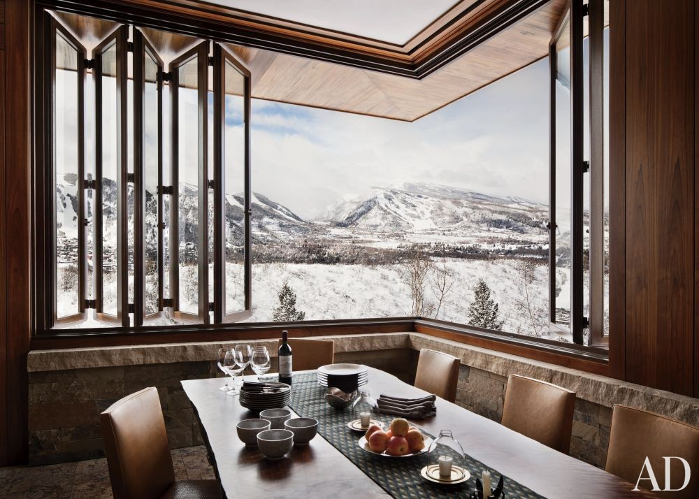 Rustic Dining Room by Studio Sofield and Studio B Architects in Aspen, Colorado